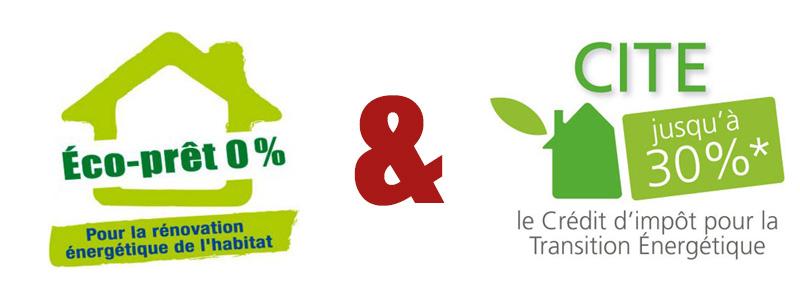Logo éco-prêt 0%, crédit d'impôt pour la transition énergetique